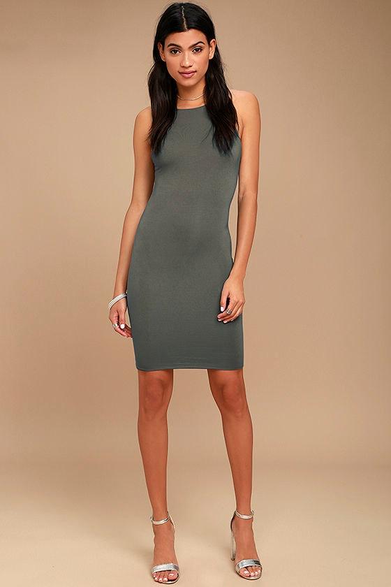I Bet Charcoal Grey Bodycon Dress 2