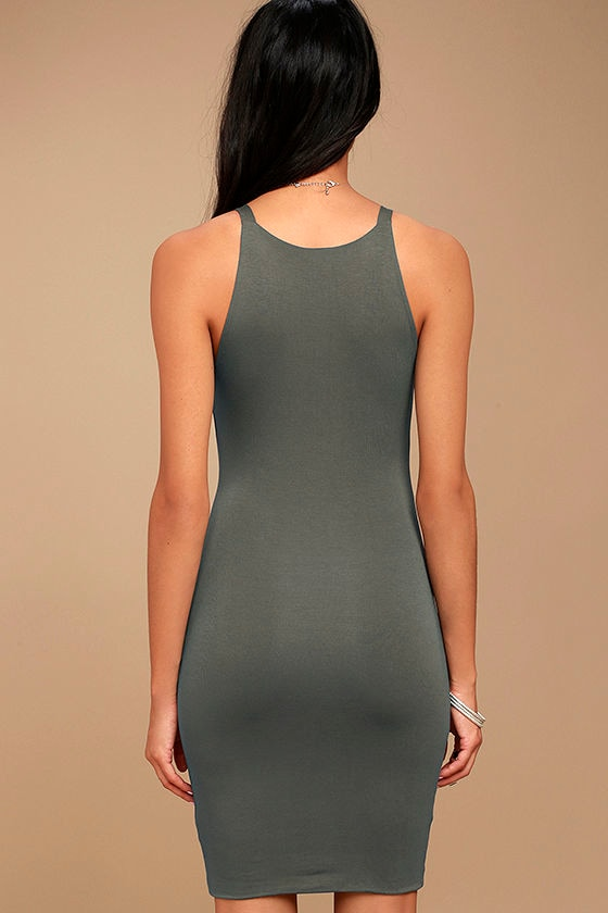 I Bet Charcoal Grey Bodycon Dress 3