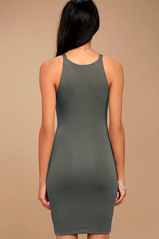 I Bet Charcoal Grey Bodycon Dress 3