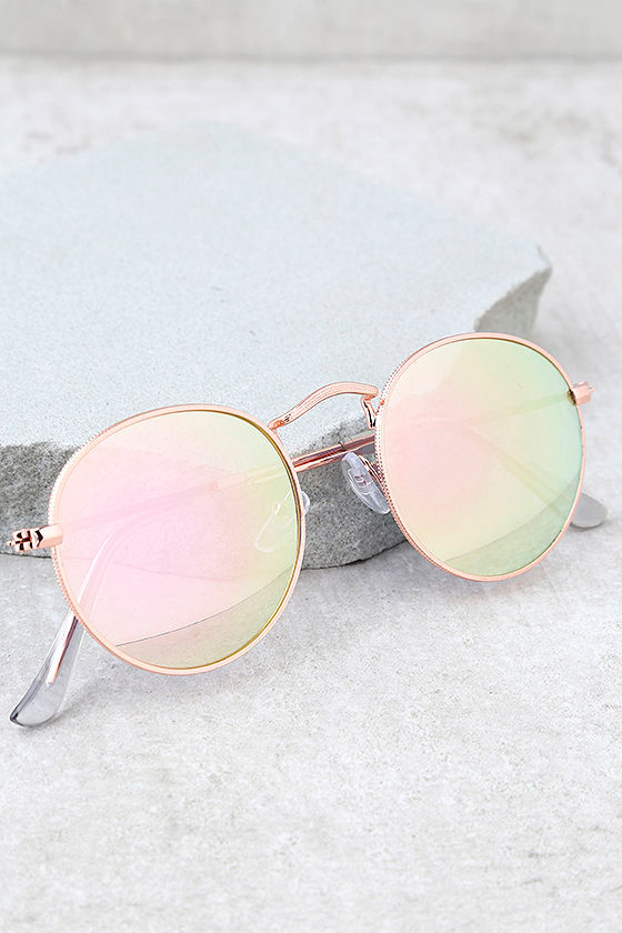 af64647d83575 Cute Rose Gold Sunglasses - Pink Mirrored Sunglasses - Rounded ...
