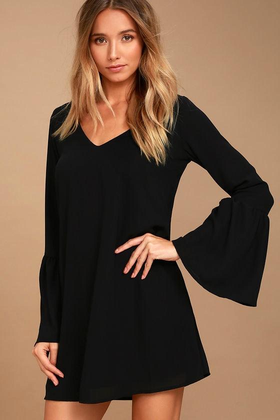 Bell Sleeve Dress - Shift Dress - Black Dress 4649c8851