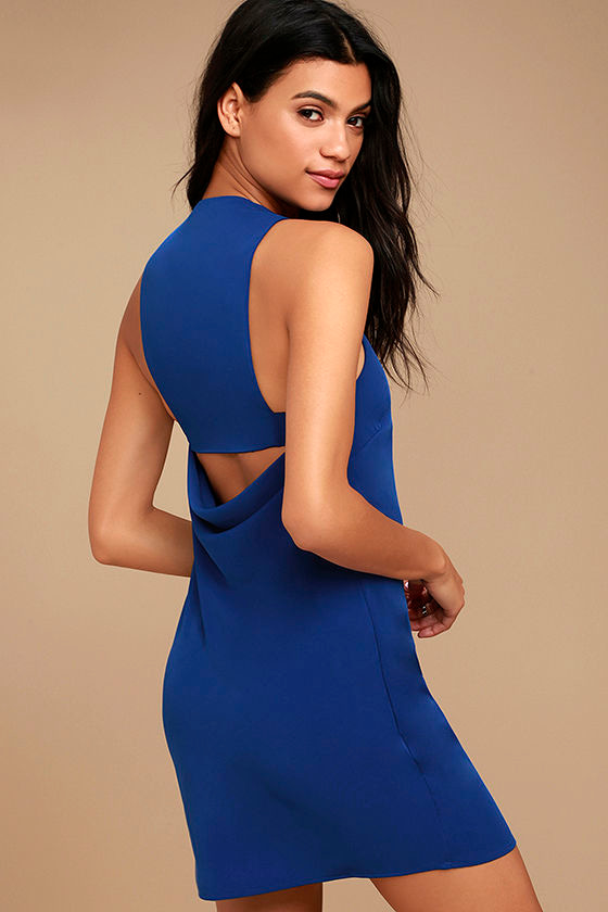 Streamlined Style Royal Blue Cutout Dress 1