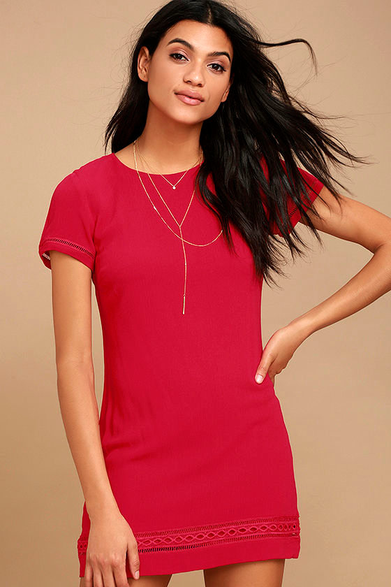 Perfect Time Red Shift Dress 1