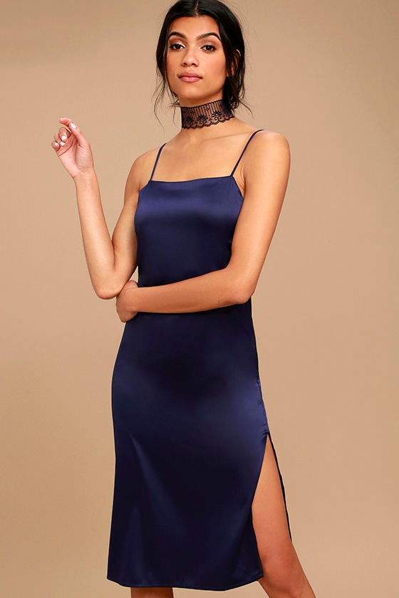 Sexy Navy Blue Dress - Satin Midi Dress - Midi Slip Dress - Lace ...