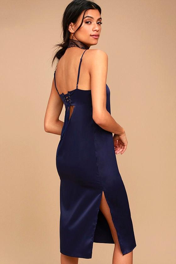 0475d6c3ffef Sexy Navy Blue Dress - Satin Midi Dress - Midi Slip Dress - Lace-Up Slip -   48.00