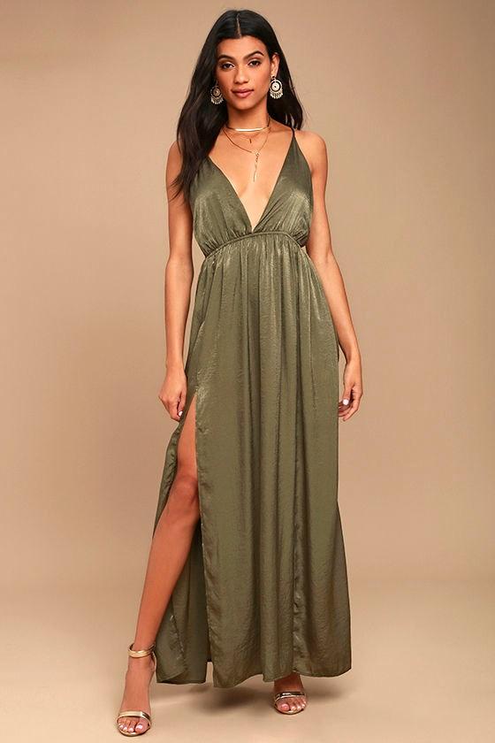Green satin maxi dress backless