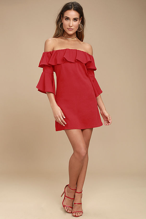a4aea05df691f0 Cute Red Dress - Off-the-Shoulder Dress - Shift Dress - $49.00