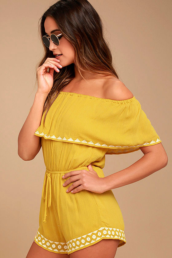 Oaxaca Mustard Yellow Embroidered Off-the-Shoulder Romper 2