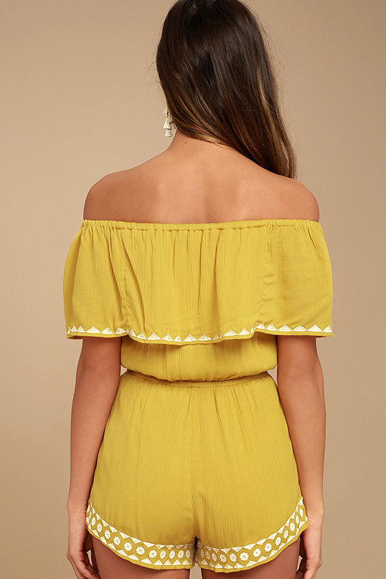 Oaxaca Mustard Yellow Embroidered Off-the-Shoulder Romper 3