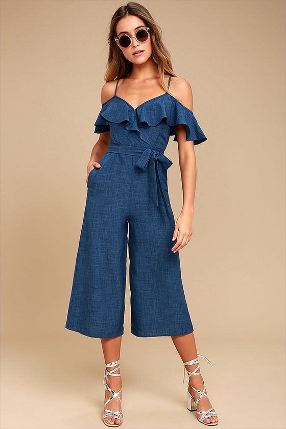 Lost in Love Denim Blue Off-the-Shoulder Midi Jumpsuit 1