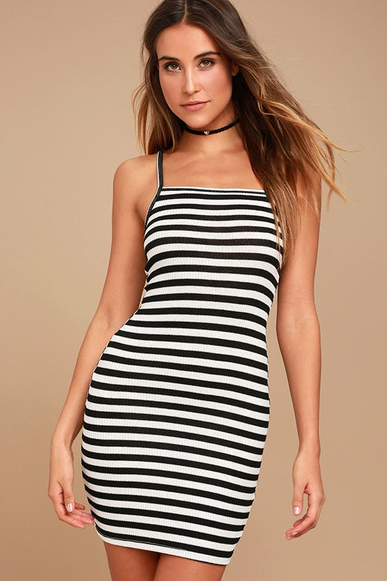 Billabong Dream Song - Black and White Striped Dress - Bodycon ...