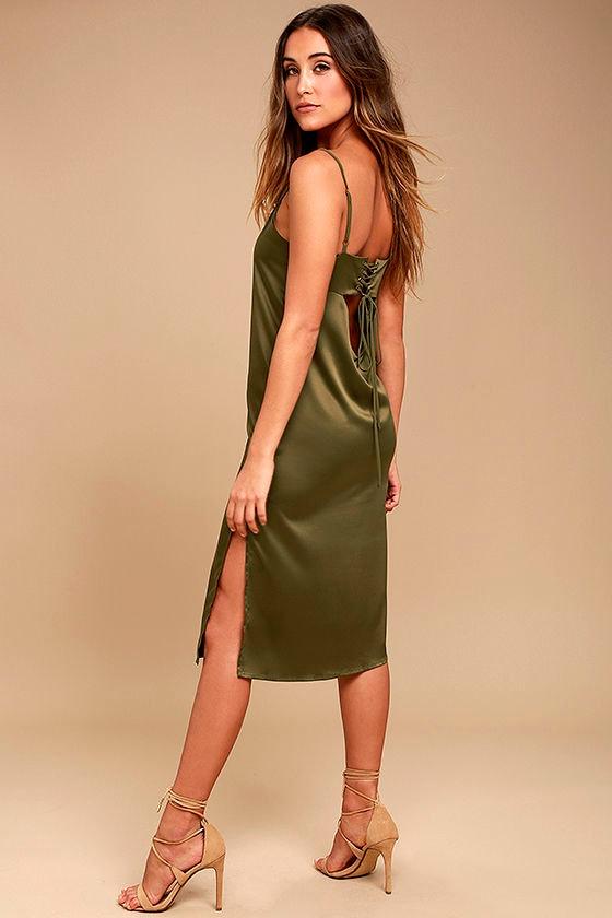 3d2dc68d1e19 Sexy Olive Green Dress - Satin Midi Dress - Midi Slip Dress - Lace ...