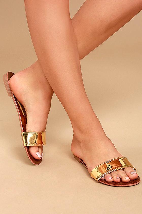 cee4e964f848 Cute Gold Sandals - Metallic Slide Sandals - Vegan Leather Slides -  17.00