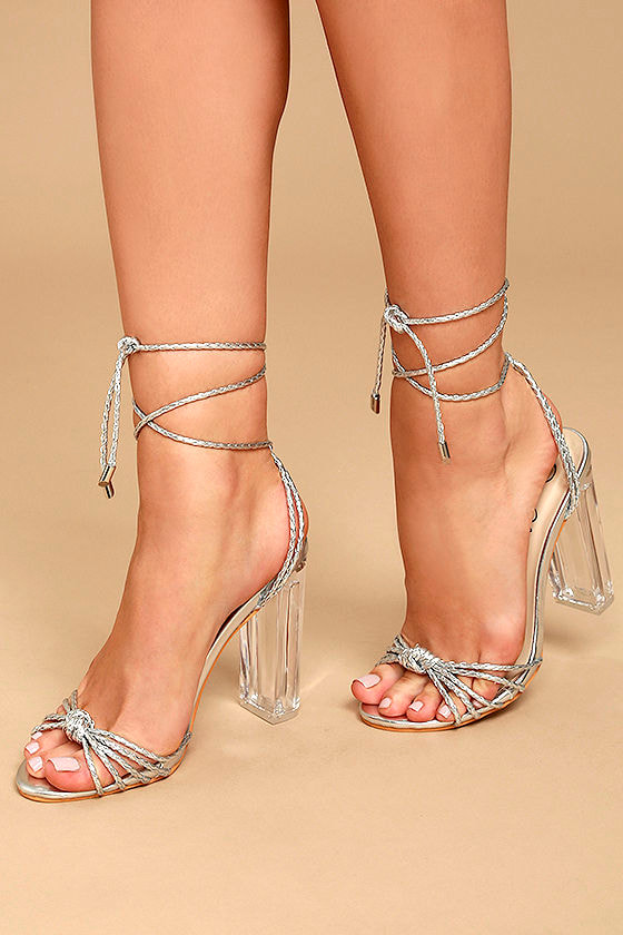 Lovely Silver Heels Lucite Heels Lace Up Lucite Heels