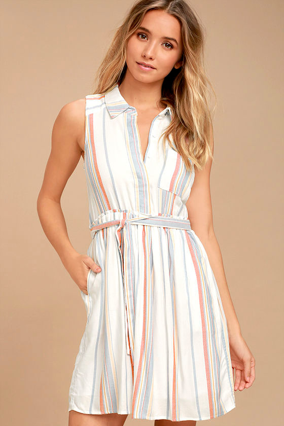 Olive & Oak Celeste White Striped Shirt Dress 1