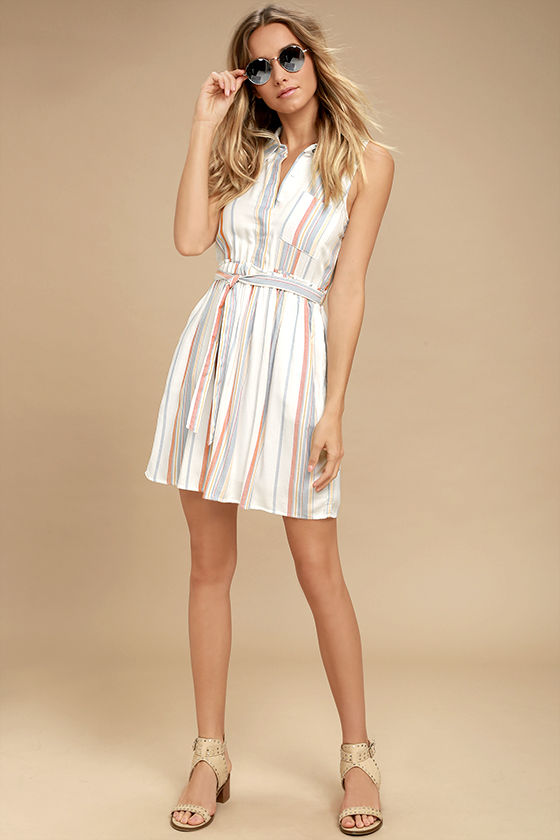 5809fdfa478a Olive & Oak Celeste - White Striped Dress - Shirt Dress - $72.00