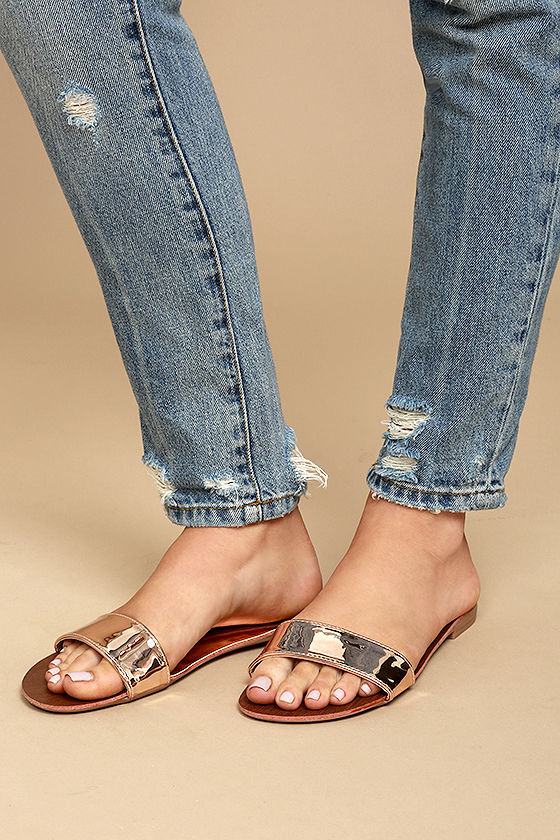 4e1be219b3d7 Cute Rose Gold Sandals - Metallic Slide Sandals - Vegan Leather Slides -   17.00