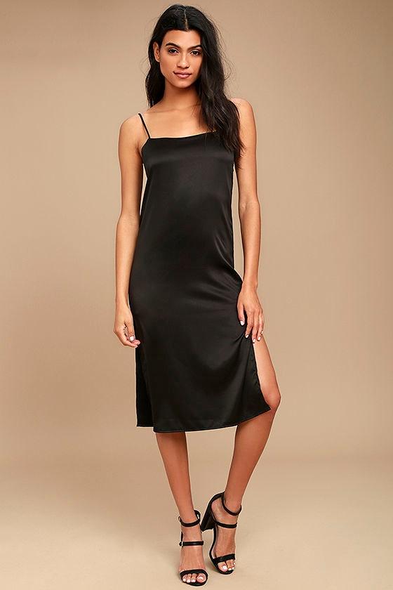 d3c0c8b8c0a6 Sexy Black Dress - Satin Midi Dress - Midi Slip Dress - Lace-Up Slip ...