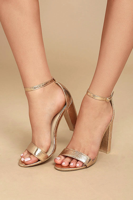 Glamorous Ceara Rose Gold Ankle Strap Heels 2