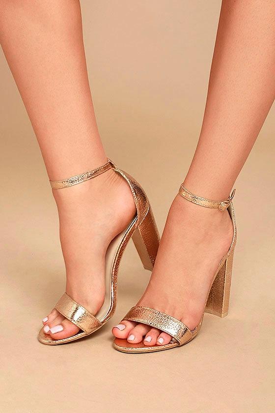 3dcb1c15f96 Chic Rose Gold Heels - Metallic Heels - Rose Gold Ankle Strap Heels ...