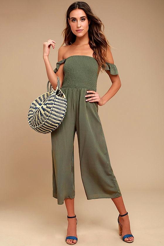 c7fd3e730f08 Cute Olive Green Jumpsuit - Midi Jumpsuit - Off-the-Shoulder Jumpsuit -  $54.00