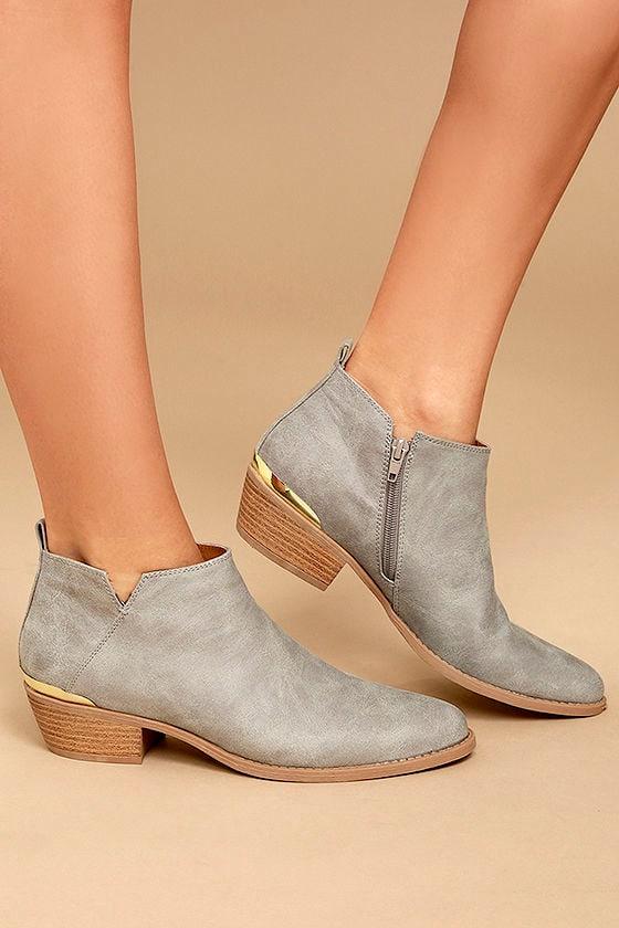 697f2f22fd11a Cute Light Grey Ankle Booties - Grey Vegan Leather Booties - Gold Heel  Booties - $43.00