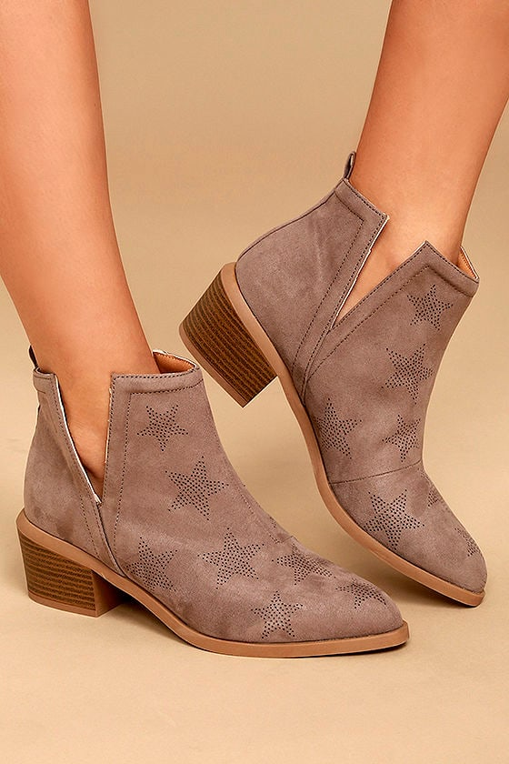 Sidra Taupe Suede Star Booties 2