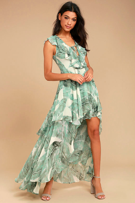 Meant to Be Sage Green Print High-Low Dress 1