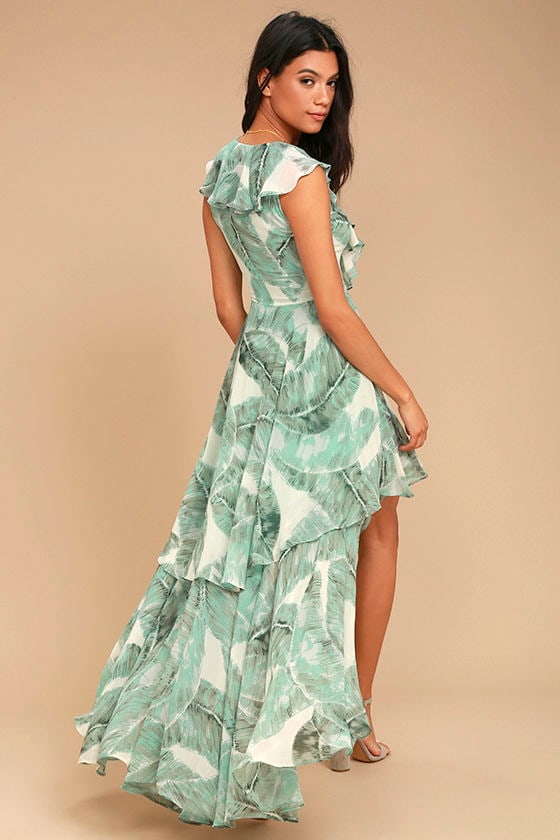 Meant to Be Sage Green Print High-Low Dress 2