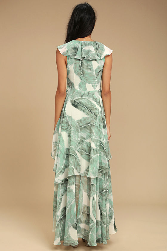 Meant to Be Sage Green Print High-Low Dress 3