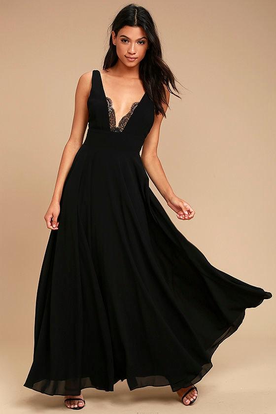Lovely Black Dress - Maxi Dress - Lace Dress - Lace Trim Maxi ...