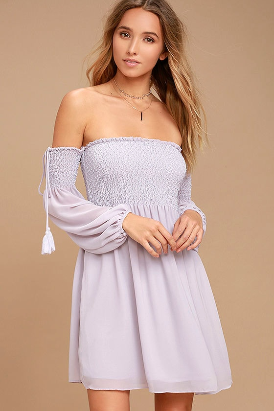Dusted Skies Lavender Off-the-Shoulder Dress 1