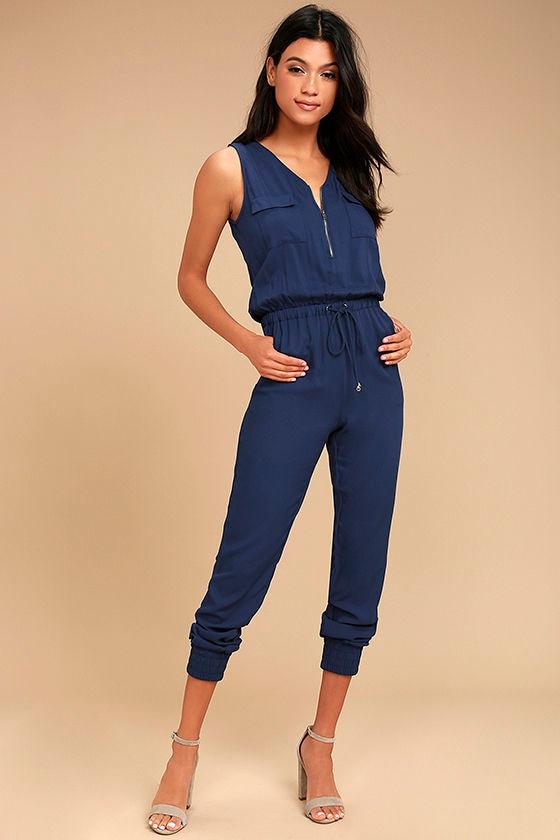 Olive & Oak Scarlett Navy Blue Jumpsuit 1