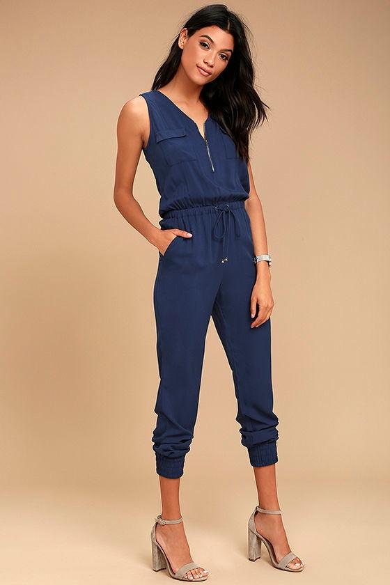 Olive & Oak Scarlett Navy Blue Jumpsuit 2