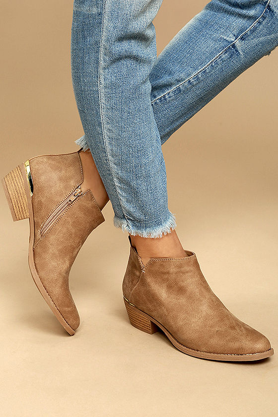 Marzia Camel Distressed Ankle Booties 2