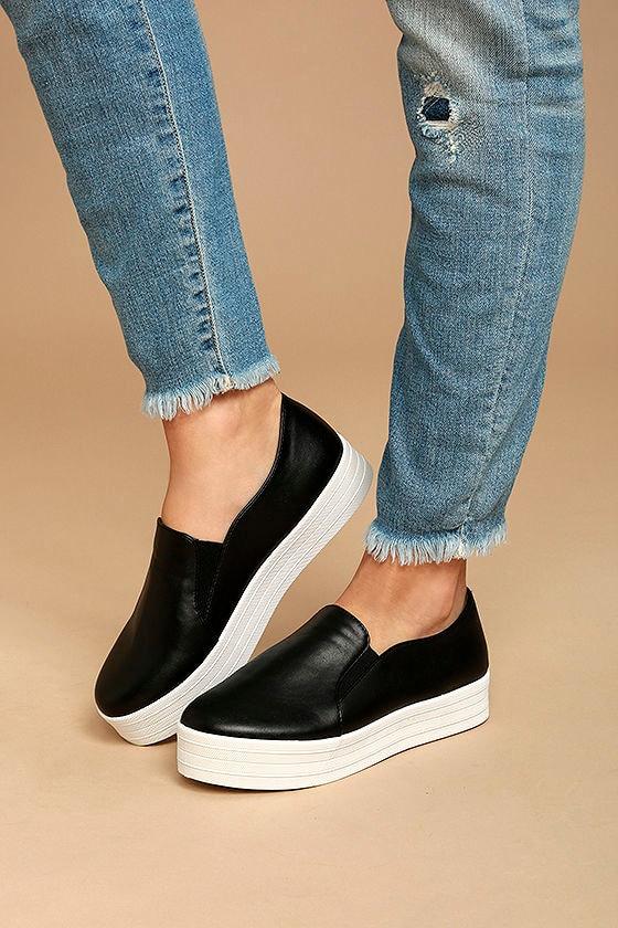 Alzena Black Flatform Slip-On Sneakers 1