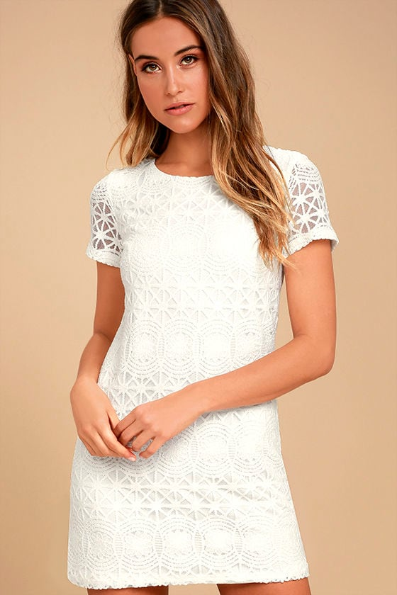 Love You For Eternity White Lace Shift Dress - Lulus