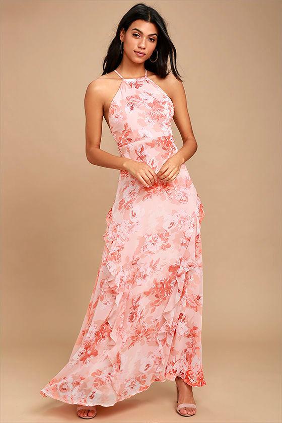 4156379efeebd Lovely Pink Dress - Floral Print Dress - Maxi Dress -  84.00
