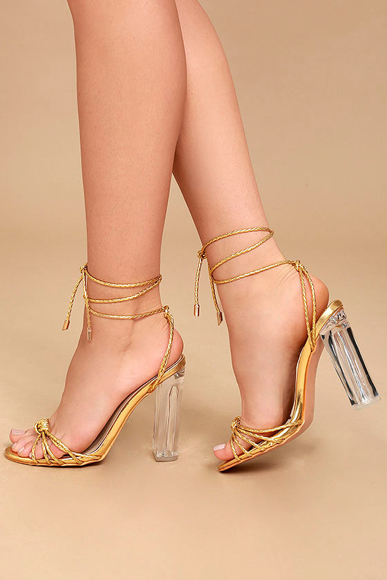 Lovely Gold Heels - Lucite Heels - Lace-Up Lucite Heels -  45.00