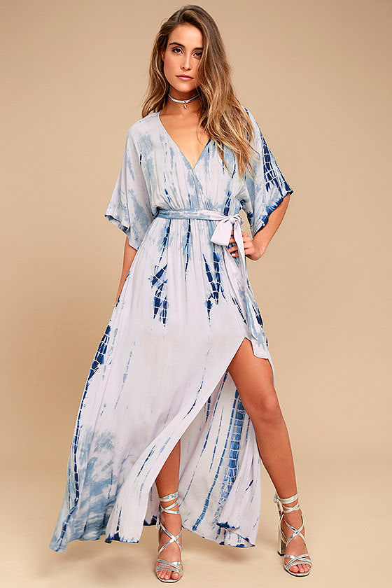 Seaside Dream Navy Blue and Lavender Tie-Dye Maxi Dress 1