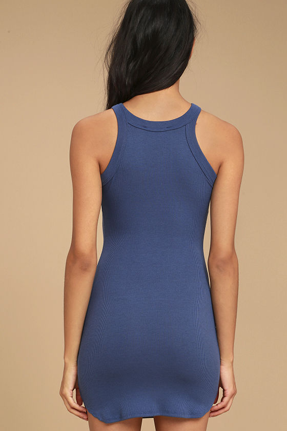 Simply Speechless Washed Navy Blue Bodycon Dress 3