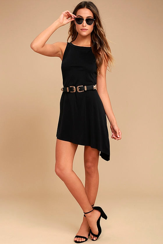Deep in Thought Black Shift Dress 2