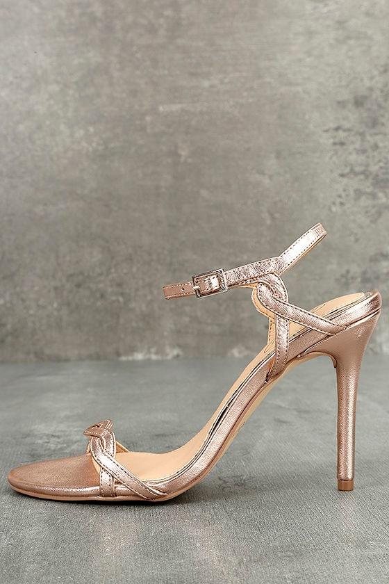 53ed728cfb Jewel by Badgley Mischka Hepburn II - Rose Gold Leather Heels - Stiletto  Heels - $89.00