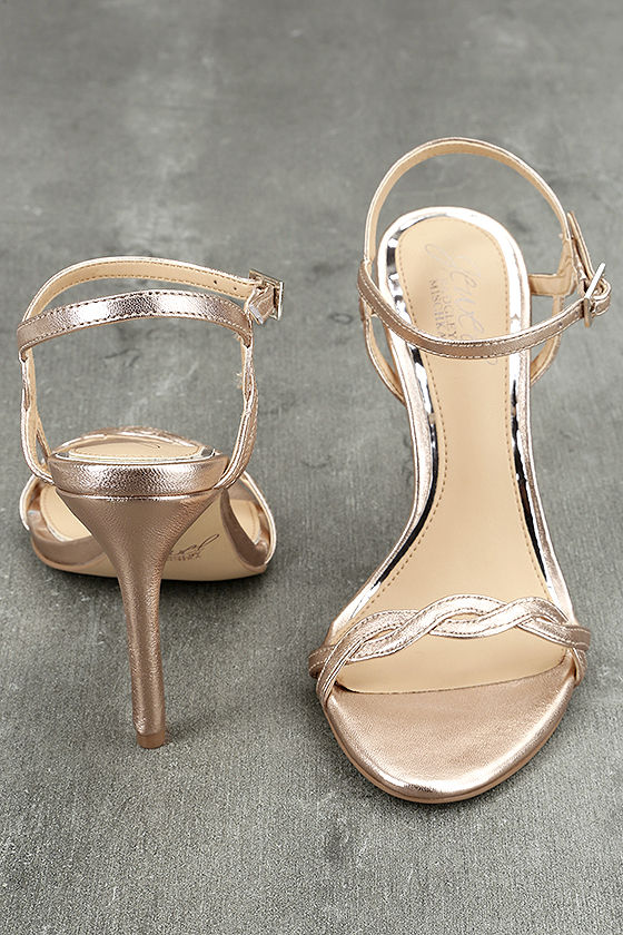 Jewel by Badgley Mischka Hepburn II Rose Gold Leather Heels 3
