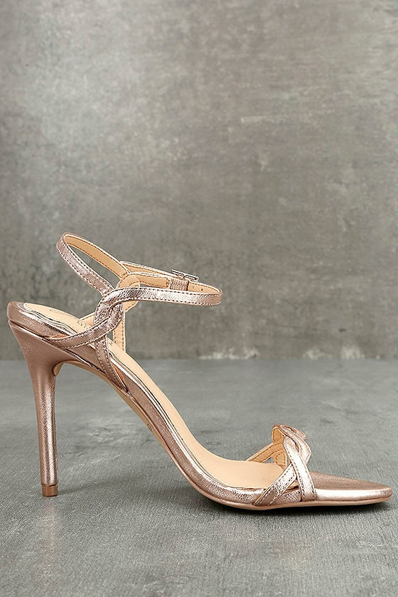 Jewel by Badgley Mischka Hepburn II Rose Gold Leather Heels 4