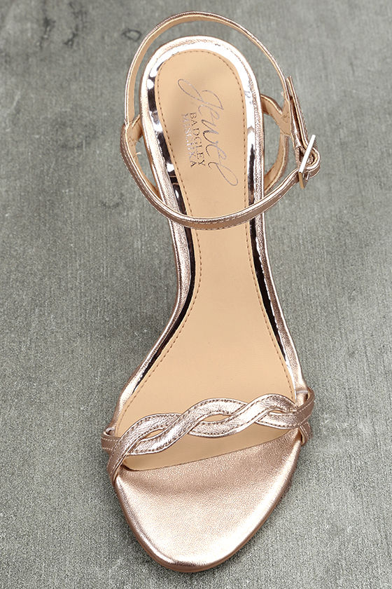 Jewel by Badgley Mischka Hepburn II Rose Gold Leather Heels 5