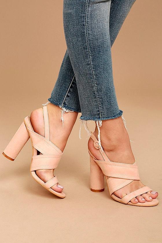 Abiona Blush Suede High Heel Sandals 2