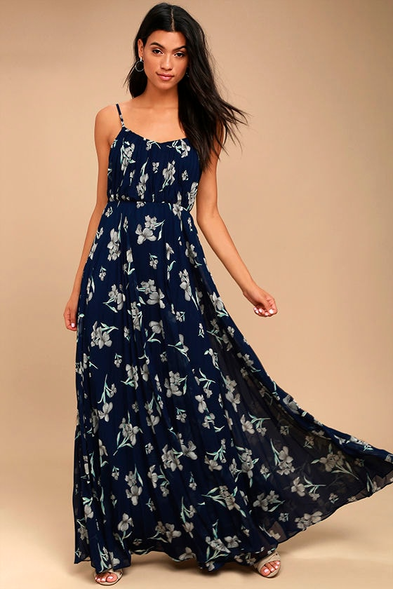 Memorable Night Navy Blue Floral Print Maxi Dress 1