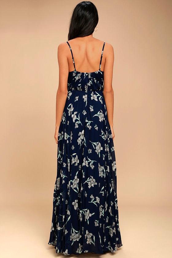 Memorable Night Navy Blue Floral Print Maxi Dress 3