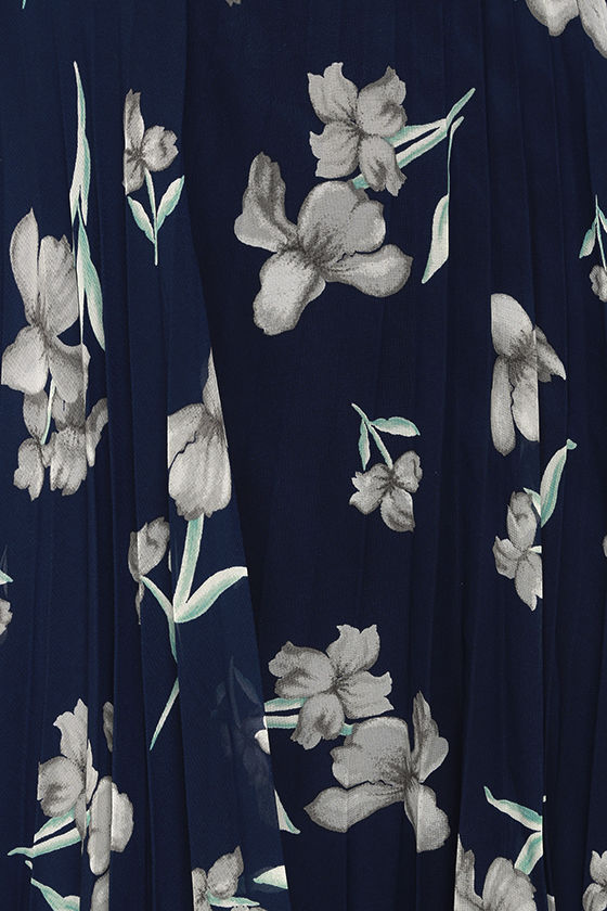 Memorable Night Navy Blue Floral Print Maxi Dress 4